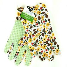 True Living Outdoor Garden Canvas Gloves Rubber Palm Lawn Yard Work Floral NWT