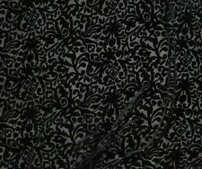 "Burnout Silk VELVET Fabric BLACK BAROQUE SCROLL 9""x22"" remnant"