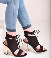 Ladies Womens Perspex Block High Heel Lace Up Peep Open Toe Party Sandal Shoes