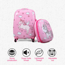 """2Pc Carry On 12"""" 16""""Kids Luggage Set Suitcase Backpack Travel School Trolley ABS"""