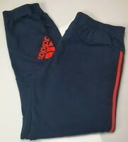 Mens Adidas Navy Blue And Orange Tracksuit Bottoms Joggers Size Large L