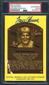 Tom Seaver PSA DNA Cert Signed Gold HOF Plaque Autograph