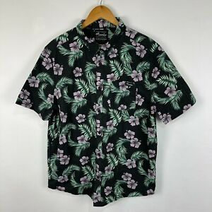Mambo Mens Button Up Shirt Large Multicoloured Floral Short Sleeve Collared