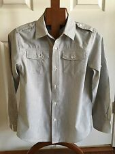 HELIX Casual Shirt Youth Size M Striped Button Down Long Sleeve Gray White