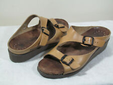 Mephisto Elka Tan Leather Wedge Sandals Womens Size 8.5 US 39 EU slides shoes