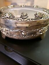 """VINTAGE SILVERPLATED """"REGENT SQUARE"""" OVAL WITH ROSES TRINKET/JEWELRY BOX"""