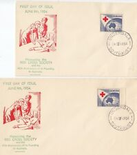 Stamps Australia 1954 Red Cross Society 3&1/2d on pair Bergen FDCs both signed