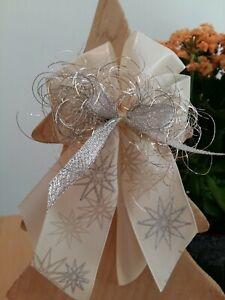 10 Weihnachtsschleifen Christbaumschmuck Weihnachten creme gold silber