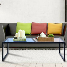 Tempered Glass Coffee Table with Metal Frame Living Room Furniture Rectangular