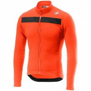 NEW Castelli PURO 3 Long Sleeve Cycling Jersey, Orange, Size Large
