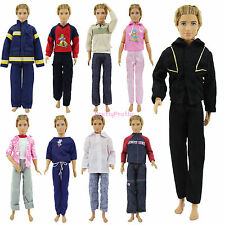 3 Outfits Clothes Jacket Top Trousers Pants Casual Wear For Barbie Ken Doll UU