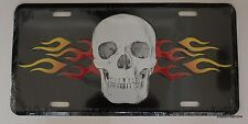 New Metal License Plate Car Tag Cover Skull Skeleton with Flames Biker Rebel