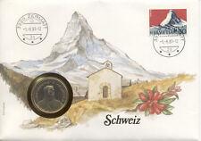 superbe enveloppe SUISSE SCHWEIZ SWITZERLAND pièce monnaie 5 FRS 1986 UNC NEW ti