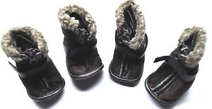 Petrageous Cheyenne Shearling Faux Suede Dog Boots Brown Medium