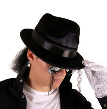 MICHEAL JACKSON KING OF POP HAT WITH HAIR FOR FANCY DRESS.