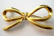Accents Pin Brooch D12 Vintage Goldtone Bow Rhinestone