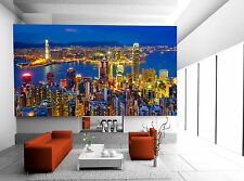 Hong Kong Skyline at Night Wall Mural Photo Wallpaper GIANT WALL DECOR FREE GLUE