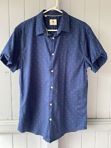 Steel & Jelly Short Sleeve Blue Collared Shirt Size L