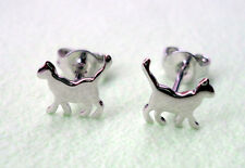 ZPs2 925 Sterling Silver Small Cat Stud Earrings Animal Jewellery EARRINGS