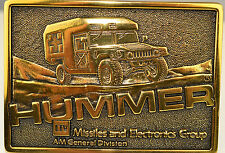 1987 HEAVY BRASS BELT BUCKLE HUMMER AMBULANCE 7th IN SERIES MISSILES ELECTRONICS