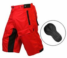 "MTB off Road Cycling Short With Lycra Coolmax Padded Liner 100 Polyester Medium 32""-34"" Red"