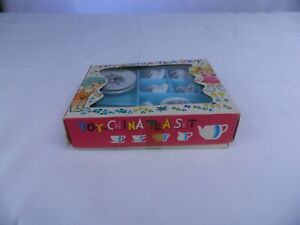 Vintage Toy China Tea Set In Original Graphic Box, Mid Century Japan - Adorable!