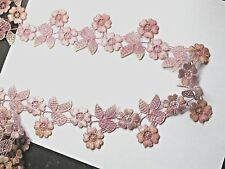 """Venise Lace 2 3/16"""" (56mm) Flower Rose - Rose Peach Variegated Shades 3 Yards"""