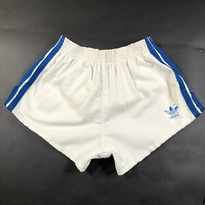 Adidas Trefoil Youth Boys L (28-30) White Running Shorts Thick Blue Stripes USA