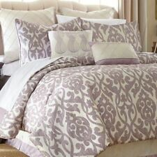 Lavender Purple Cream Ivory Damask Pleated 8 pc Comforter Set Queen King Bedding