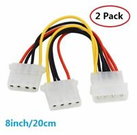 2pc 4Pin ATX Molex Power Supply Extension Cable 1 Male to 2 Female Split Cable
