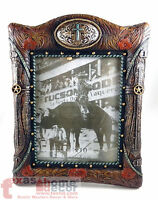 "Rustic Western 8""x10"" Picture Frame Stars Floral Leather Look Buckle with Cross"
