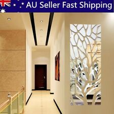 3D Silver Removable Acrylic Wall Mirror Stickers Home Room Art Decals Decor DIY