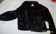 CITY STREETS MENS BLACK LEATHER BOMBER JACKET QUILTED LINING SZ XL