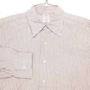 Brooks Brothers Dress Shirt 17 33 Makers USA Red White Supima Traditional Mens