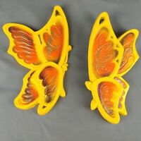 Vtg Butterfly Wall Art Yellow Orange 1973 Universal Statuary 7 inch Lot of 2