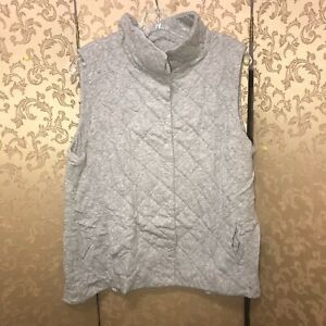 Eileen Fisher Heather Gray Quilted Vest Size Extra Large XL