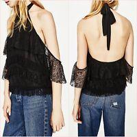 Zara Black Lace Halter Neck Top Size 6 8 10 12 XS S M L US 2 4 6 8 Blogger ❤