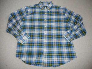 Mens Shirt-ARROW-blue/white/green/yellow plaid cotton blend buttondown ls-XL
