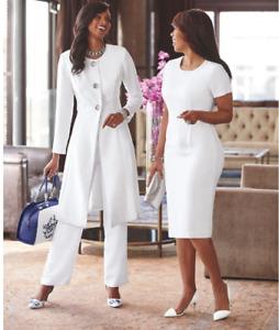 Size 12  Ashro Formal White Pant Jacket and Dress Suit Ladara Wardrober
