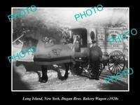 OLD 8x6 HISTORIC PHOTO OF LONG ISLAND NEW YORK DUGANS BAKERY CART c1920
