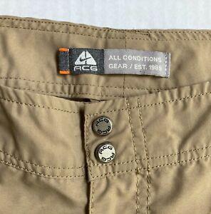 Vtg Nike ACG Convertible Zip Off Hiking Pants Womens Sz 6 Shorts Cargo Tan Khaki