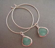 Crystal Glass Silver Plated Hoop Handcrafted Earrings
