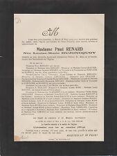 1913 Faire-part décès Mme Paul RENARD née Louise-Marie DUJONCQUOY Orléans Loiret
