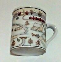 Snow Winter Town Scene Design Around Coffee Cup Mug