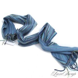 MODERN LUXE Amicale 100% Cashmere Multi Blue Green Striped Flannel Scarf Muffler