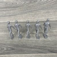 Lot Of 5 Vtg Marx Battleground Gray Army Man Marching Walking With Weapon