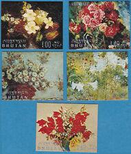 Bhutan 1970 Flower Paintings Embossed textured paper MNH - US Seller