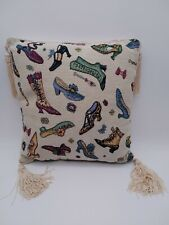 Past Times Shoes Themed Vintage Style Cushion Tassels Shabby Chic Home Deco VGC