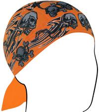 Zan 100% Cotton Lightweight Orange Tribal Skull Headwrap / Do-Rag / Skull Cap
