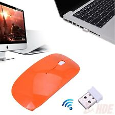 2.4GHz Slim Orange Optical Wireless Mouse Mice USB Receiver Laptop PC